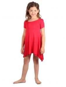 Lori & Jane Big Girls Red Short Sleeve Asymmetrical Trendy Tunic Dress 6-14
