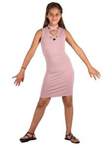 Lori & Jane Big Girls Mauve Criss Cross Neck Sleeveless Trendy Dress 10-16