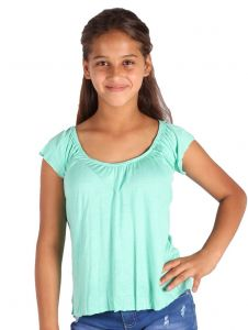 Lori & Jane Big Girls Mint Elastic Short Sleeve Summer Top 6-14