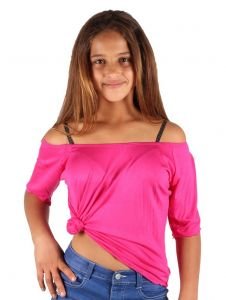 Lori & Jane Big Girls Hot Pink Elastic Short Sleeve Summer Top 6-14