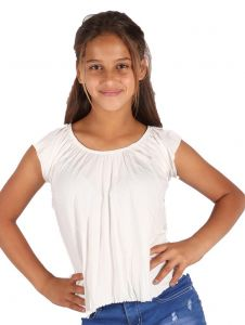Lori & Jane Big Girls Ivory Elastic Short Sleeve Summer Top 6-14