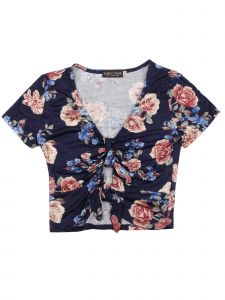 Lori&Jane Big Girls Navy Floral Print V Neck Short Sleeve T-Shirt 10-16
