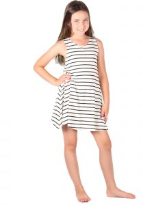 Lori & Jane Big Girls White Striped Sleeveless Trendy Tunic Dress 4-14