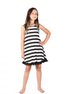 Lori & Jane Big Girls Black White Lace Sleeveless Trendy Tunic Dress 4-14