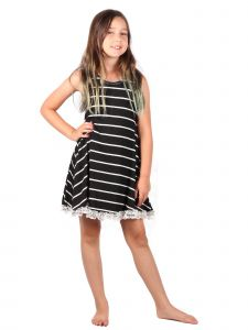 Lori Jane Big Girls Black And White Lace Trendy Dress 6-14