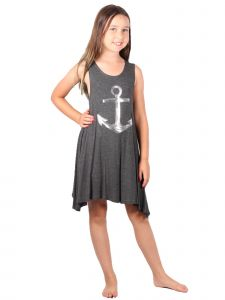 Lori & Jane Big Girls Charcoal Sleeveless Trendy Tunic Dress 6-14