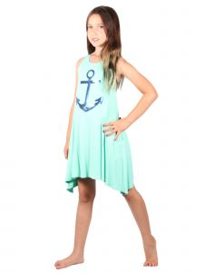 Lori & Jane Big Girls Mint Sleeveless Trendy Tunic Dress 6-14