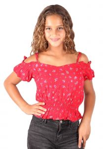 Lori & Jane Big Girls Red Off Shoulder Ruffle Sleeve Strap Elastic Top 10-16