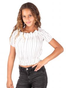 Lori & Jane Big Girls White Stripe Cold Shoulder Elastic Top 10-16
