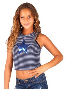 Lori & Jane Big Girls Navy Stripe Sequin Tank Top 8-14