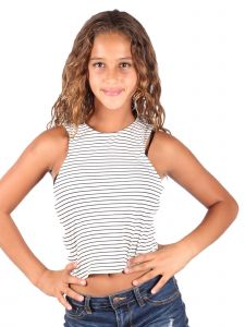 Lori & Jane Big Girls White Black Stripe Tank Top 8-14