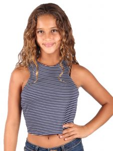 Lori & Jane Big Girls Navy White Stripe Tank Top 8-14