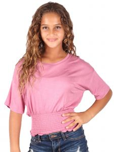 Lori & Jane Big Girls Mauve Solid Color Elastic Top 10-16