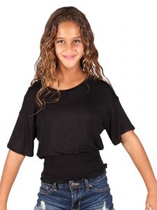 Lori & Jane Big Girls Black Solid Color Elastic Top 10-16