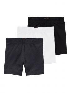 Lori & Jane Big Girls Black White Charcoal 3 Pc Shorts 8-14