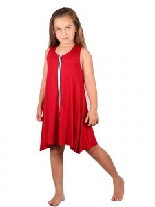 Lori&Jane Big Girls Red White Stripe Sleeveless Trendy Tunic Dress 6-14