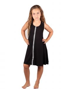 Lori&Jane Big Girls Black White Stripe Sleeveless Trendy Tunic Dress 6-14