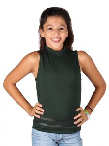 Lori&Jane Big Girls Green Turtleneck Sleeveless Horizontal Stripe Top 10-16