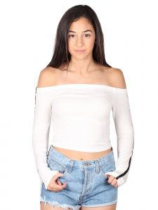 Lori&Jane Big Girls White Off Shoulder Long Sleeve Top 12-18