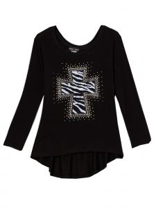 Lori&Jane Big Girls Black Rhinestone Cross Hi-Low Tunic 6-14