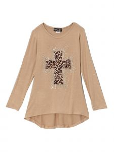 Lori&Jane Big Girls Tan Rhinestone Cross Hi-Low Tunic 6-14