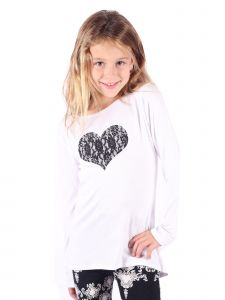 Lori&Jane Big Girls White Lace Heart Long Sleeve Tunic 6-14