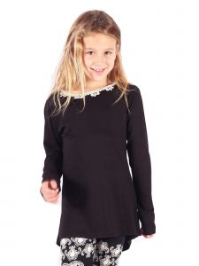 Lori&Jane Big Girls Black Long Sleeve Tunic 6-14