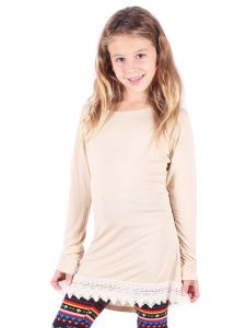 Lori&Jane Big Girls Tan Scalloped Lace Trim Tunic 6-14