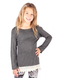 Lori&Jane Big Girls Charcoal Scalloped Lace Trim Tunic 6-14