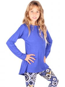 Lori&Jane Big Girls Royal Blue Long Sleeve Tunic 6-14