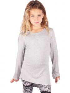 Lori&Jane Big Girls Gray Long Sleeve Tunic 6-14