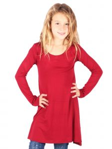 Lori&Jane Big Girls Dark Red Trendy Long Sleeve Tunic Dress 6-14