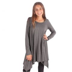 Lori&Jane Girls Grey Solid Color Long Sleeved Trendy Tunic Top 6-14