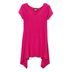 Lori&Jane Girls Fuchsia Solid Color Short Sleeved Trendy Tunic Top 6-14