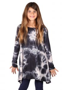 Lori Jane Big Girls Black Tie Dye L-S Tunic Trendy Dress 6-16