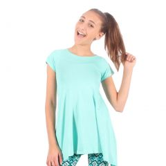 Lori&Jane Girls Aqua Solid Color Short Sleeved Trendy Tunic Top 6-14