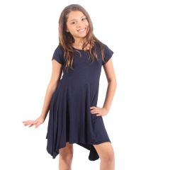 Lori&Jane Girls Navy Solid Color Short Sleeved Trendy Tunic Top 6-14