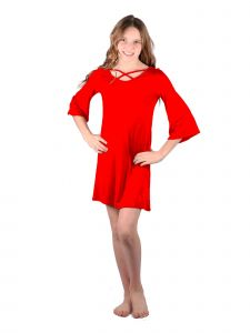 Lori Jane Big Girls Red Crisscross Trendy Dress 6-16