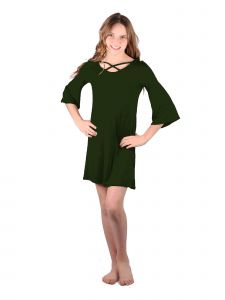 Lori Jane Big Girls Hunter Green Crisscross Trendy Dress 16