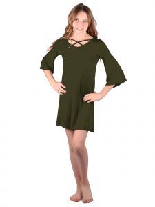 Lori Jane Big Girls Olive Green Crisscross Trendy Dress 6-16