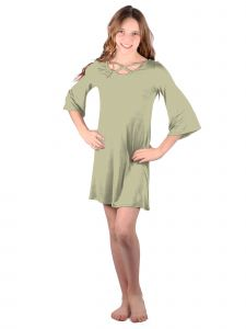 Lori Jane Big Girls Light Olive Green Crisscross Trendy Dress 6-16