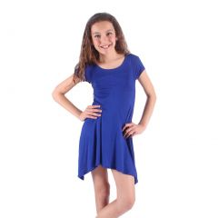 Lori&Jane Girls Royal Blue Solid Color Short Sleeved Trendy Tunic Top 6-14