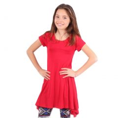 Lori&Jane Girls Red Solid Color Short Sleeved Trendy Tunic Top 6-14