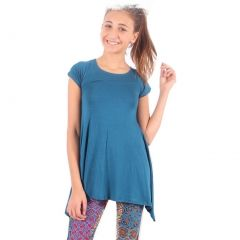 Lori&Jane Girls Teal Solid Color Short Sleeved Trendy Tunic Top 6-14