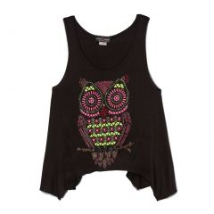 Lori&Jane Girls Black Purple Owl Print Hanky Hem Trendy Tank Top 6-14
