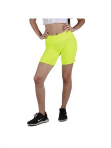 Lori Jane Big Girls Neon Lime Solid High Waist Workout Biker Shorts 8-16