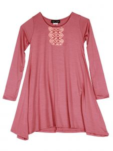 Lori Jane Big Girls Brick Embroidered Long Sleeve Tunic Dress 6-16
