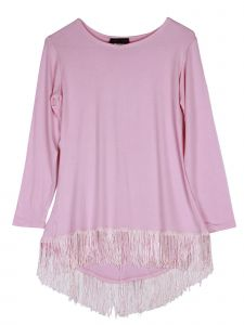 Lori Jane Big Girls Pink Long Sleeve Fringe Hi Low Top 6-16
