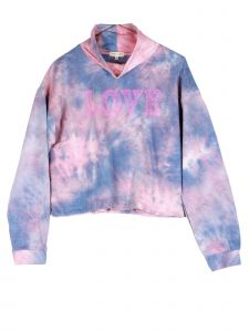 Lori Jane Big Girls Pink Blue Tie Dye Love Turtle Neck Long Sleeve Top 12-18