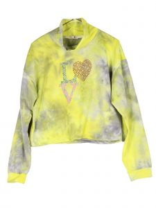Lori Jane Big Girls Yellow Gray Tie Dye Love Turtle Neck Long Sleeve Top 12-18